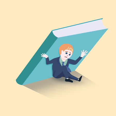 Businessmen are holding up a big book not to fall over him. concept for Obligation to bear. vector illustration.