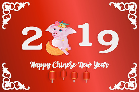 Happy Chinese New Year 2019 year of the pig, a cute pig paper cut style, Zodiac sign for greetings card, flyers, invitation, posters, brochure, banners, calendar. vector illustration.