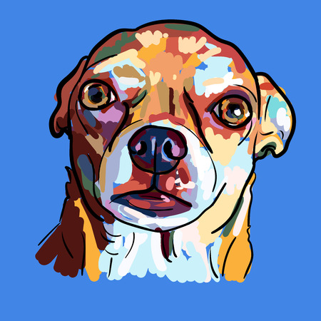 Painting of funny face of chihuahua dog on blue background, vector illustration.