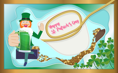 Happy St. Patricks day with heap of golden coin, cheering beer,copy space, paper art style, vector illustration. 일러스트