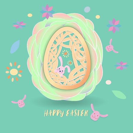 Happy easter, easter egg with cute rabbit and pattern inside on overlap green paper petal with cute scatter pattern on green background. vector illustration.