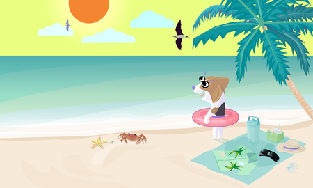 Beagle dog wear swim ring on beach prepare to play water in sea, Sunrise with cloud and bird flying on sky in morning with coconut tree and small stuff of dog with crab, starfish and shell on beach.