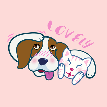 Cute beagle dog hug a cat, both express shy emotion, lovely friend ship, cartoon vector illustration on pink background.