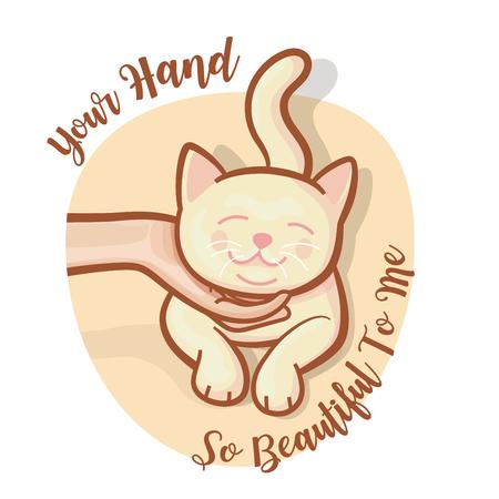 La main de l'homme caresse le menton du chat doucement le rend heureux. Le chaton mignon exprime une émotion heureuse avec un slogan sur fond blanc. illustration vectorielle.