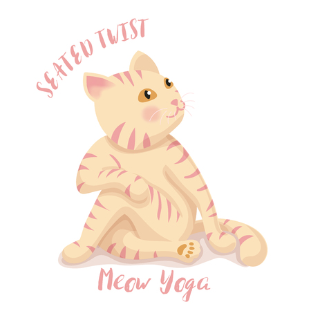 Cute cartoon cat in yoga pose meditation, a twisted pose on white background, It can be used as a poster, postcard, complimentary yoga , sports center and print on shirt. vector illustration.