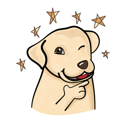 Cute labrador dog in confidence pose, blinking eye with sparkling stars on white background. vector illustration.