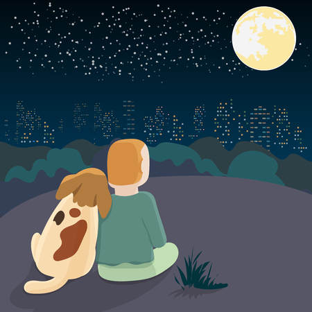A dog sitting against the owner on the hill overlooking the city at night with a full moon and stars. Love cartoon concept between animals and humans Vector illustration