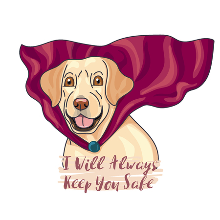 Labeador, a super dog wear heroic red cape, cartoon hero with slogan. vector illustration. Иллюстрация