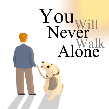 Dog in leash is staring at the owner as they are resting with a long shadow on the floor from the sun. Commitment and dog care with slogan on white background, vector illustration