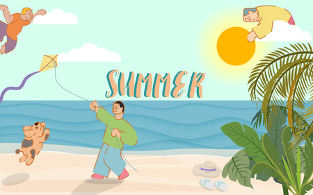 Summer time banner with typographic on sky, beach elements, coconut amd palm tree with adorable dog and a man playing kite on beach. vector illustration.