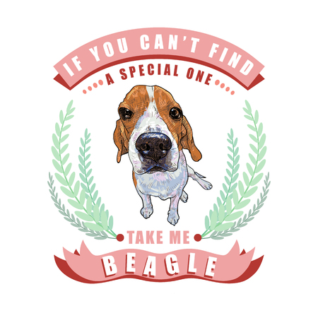Beagle dog sitting in frame leaves and ribbon with text on white background, vector illustration. Illustration