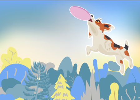 Beagle dog catching a flying disc in the air, jumping very high over tree in background, Concept for trying hard to getting better. vector illustration. Vettoriali