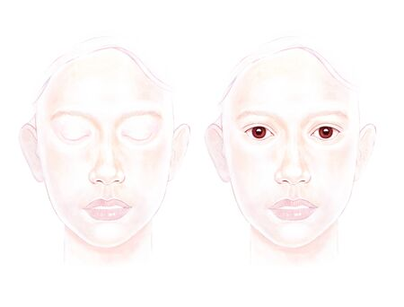Women faces, closed eye and open eye, for makeup practice, Practice board for face painting.