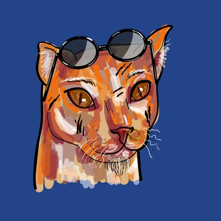 A hipster ginger cat with sunglasses ,ing at nose and scar on face on blue background. vector illustration.
