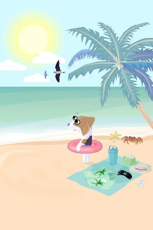 Beagle dog wear swim ring on beach prepare to play water in sea, Vector illustration. Sunrise with cloud and bird flying on sky in morning with coconut tree and small stuff of dog with crab, starfish and shell on beach.