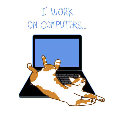 """Ginger cat sleep in funny pose on laptop with lettering """" I work on computers"""" isolated on white background, vector illustration."""