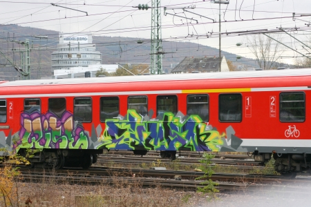 Heidelberg, Germany - 4 November 2009 - Deutsche Bahn passenger car sprayed with graffiti