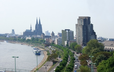Cologne on the Rhine, with its cathedral and Rhine River