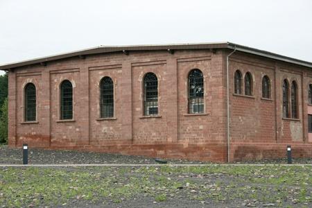 old industrial ruins of red bricks built
