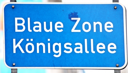 westfalen: blue road sign in Duesseldorf, Germany Stock Photo