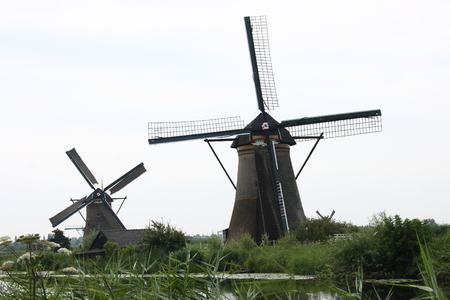 energy channels: A beautiful, old, historic windmill, with four wings