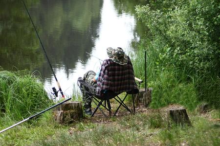 angler: An angler on a idyllic lake