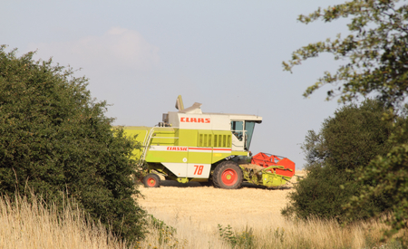 Germany July 16, 2015: farmer at harvest