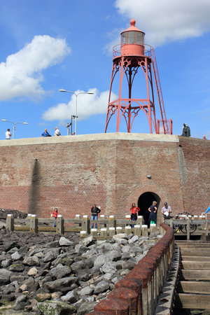 navigation mark: Vlissingen, the Netherlands August 16, 2015: the red, small lighthouses