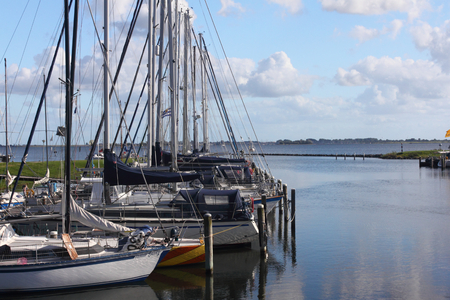 The harbor of sailing boats in Herkingen, Netherlands