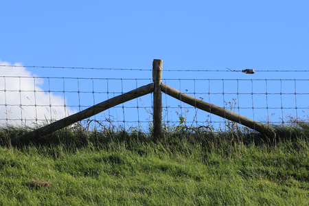 Part of a pasture fence, blue sky in the background