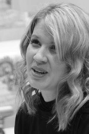 Frankfurt, Germany October 14, 2017: Sandra Regnier (born 3 September 1974) a German writer on the book Fair in Frankfurt Editorial
