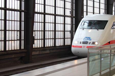 Berlin, Germany 1. April 2018: an ICE of the Deutsche Bahn enters the station Friedrichstreet