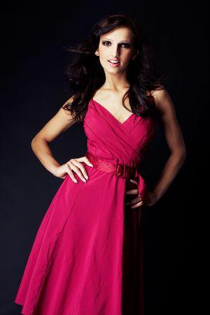 girl wearing a nice ping dress photo