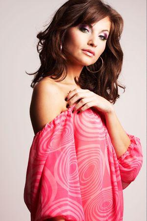bobbed: Fashion girl posing on light background