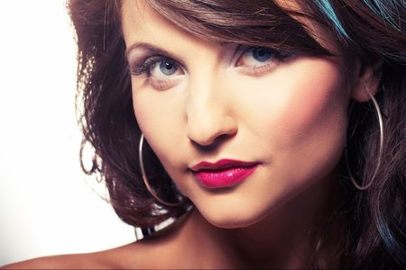 portrait of girl with red lipstic - closeup photo
