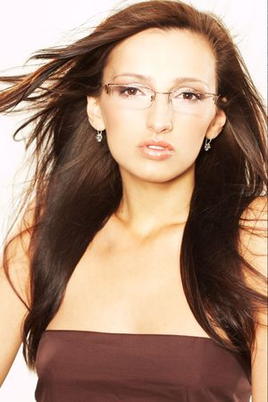 Long Haired Woman with Eyeglasses photo