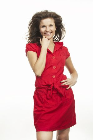 A nice woman wearing red dress on white background photo