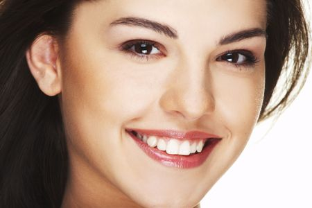 big smile: A happy young woman with big smile on white background