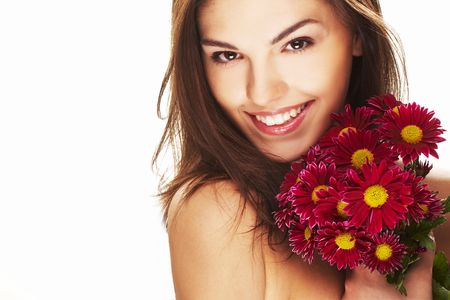 bright picture of lovely girl with red yellow flower photo