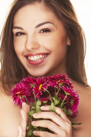 bright picture of lovely girl with red yellow flower islated on white background photo