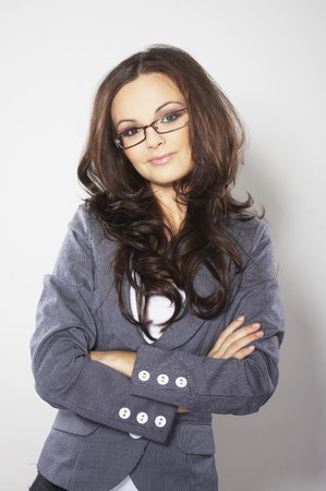 Beautiful brunette business woman with glasses photo