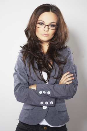women glasses: Beautiful brunette business woman with glasses