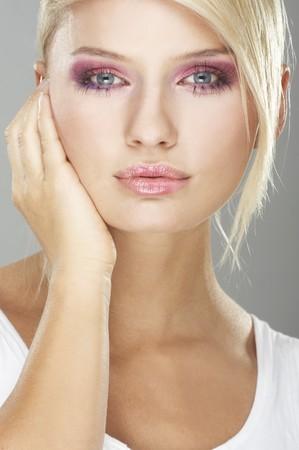 nice girl: Nice girl wearing makeup made of flowers Stock Photo