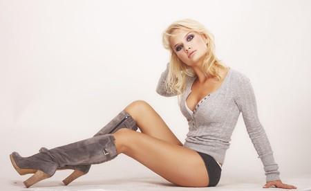 beautiful sexy blonde girl wearing underwear and grey blouse photo