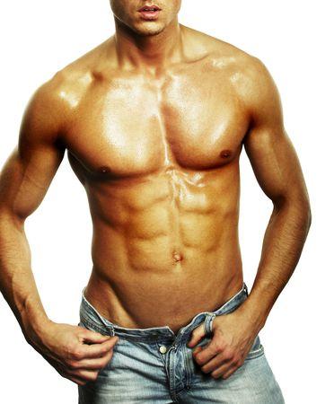 belleza masculina: Musculoso torso masculino aislado en blanco Foto de archivo