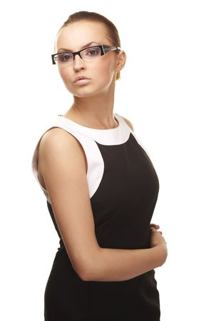 Beautiful sexy businesswoman wearing glasses isolated on white   photo