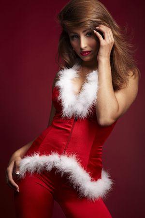 manteau de fourrure: Sexy Woman in Red Elf Costume sur Rea Contexte