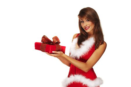 Sexy santa helper on white background holding a gift photo