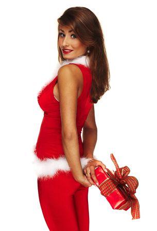 Sexy santa helper on white background holding a gift photo
