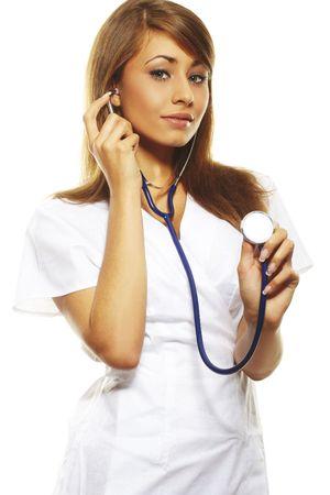 stethoscope girl: beautiful female doctor standing  isolates on white